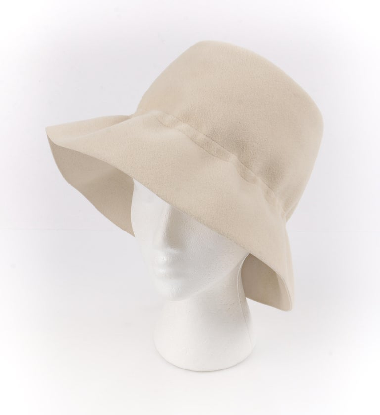 Women's YVES SAINT LAURENT c.1960's YSL Cream Felted Fur Structured Bucket Hat For Sale