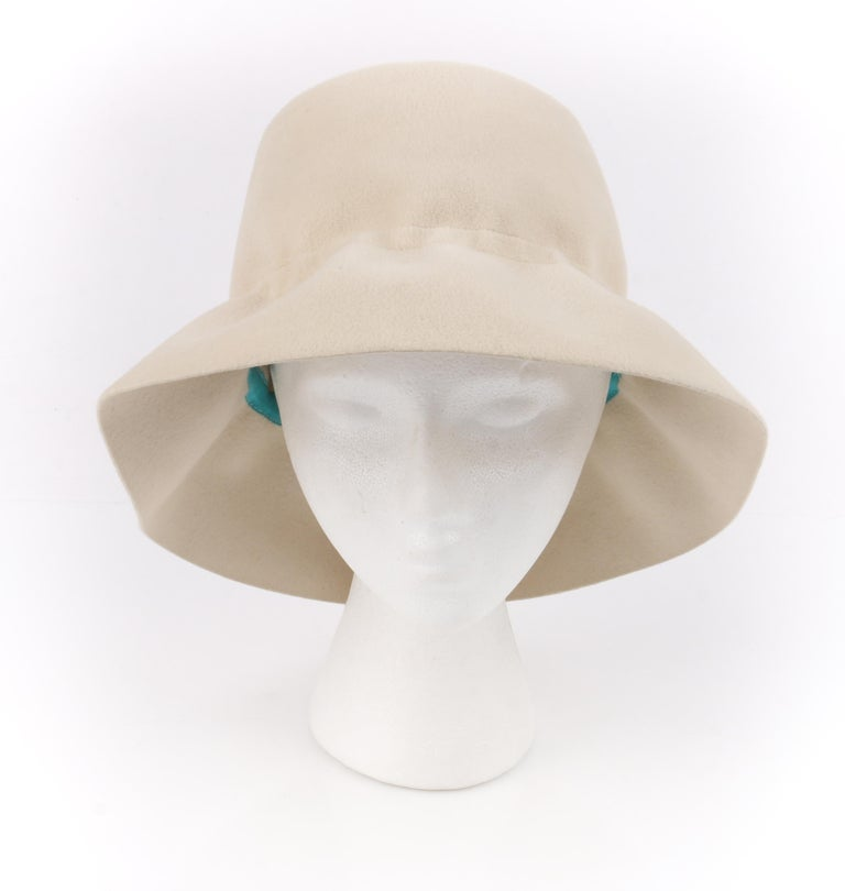 YVES SAINT LAURENT c.1960's YSL Cream Felted Fur Structured Bucket Hat For Sale 1