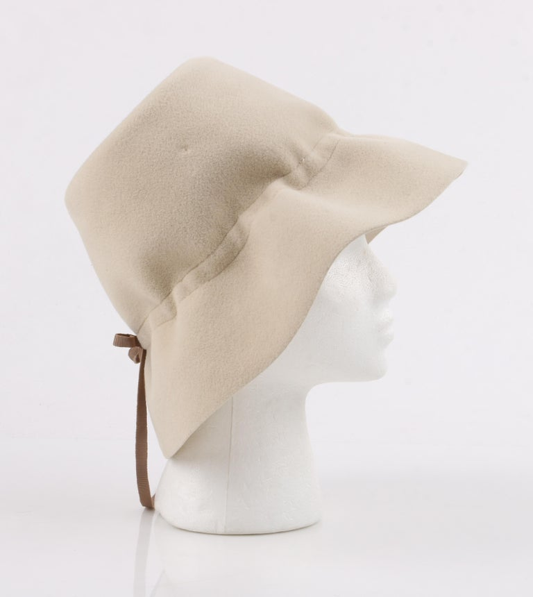 YVES SAINT LAURENT c.1960's YSL Cream Felted Fur Structured Bucket Hat For Sale 2