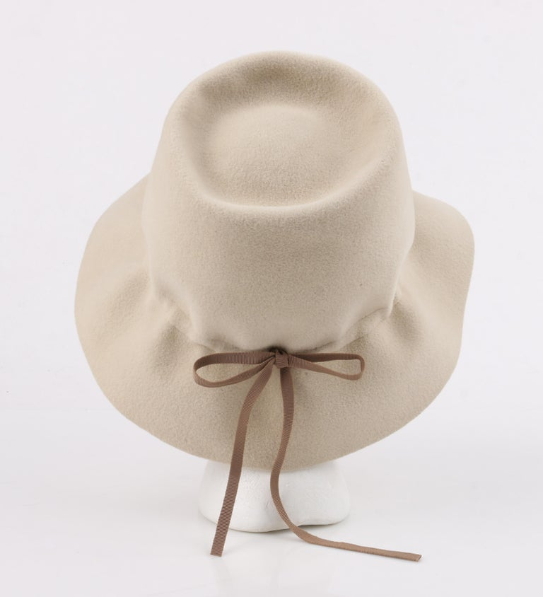 YVES SAINT LAURENT c.1960's YSL Cream Felted Fur Structured Bucket Hat For Sale 3