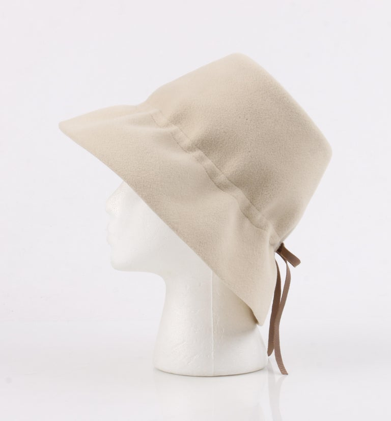 YVES SAINT LAURENT c.1960's YSL Cream Felted Fur Structured Bucket Hat For Sale 4