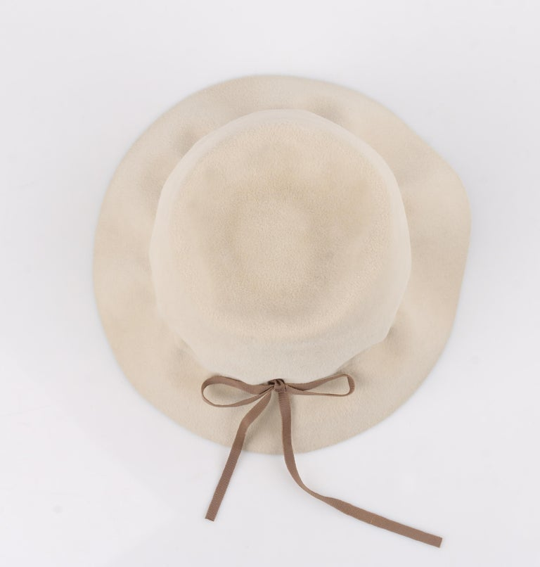YVES SAINT LAURENT c.1960's YSL Cream Felted Fur Structured Bucket Hat For Sale 5