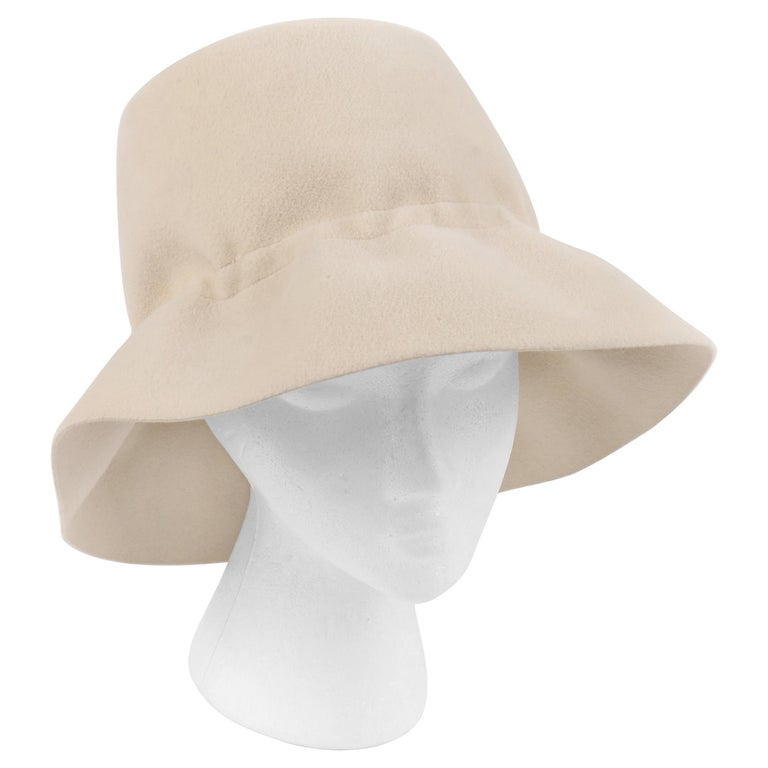 YVES SAINT LAURENT c.1960's YSL Cream Felted Fur Structured Bucket Hat For Sale