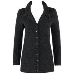 YVES SAINT LAURENT c.1980's Rive Gauche Dark Gray Beaded Silk Cashmere Knit YSL