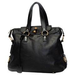 Yves Saint Laurent Calfskin Muse Messenger Bag - Black