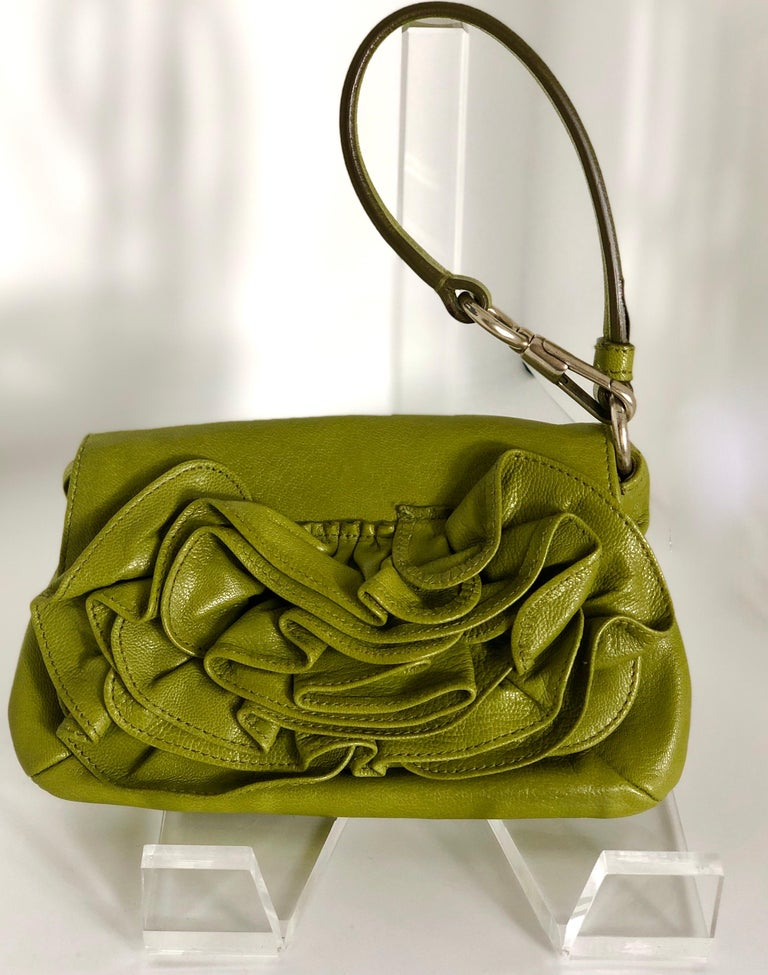 Yves Saint Laurent Chartreuse Green Leather Floral Ruffle Mini Shoulder Bag For Sale 7
