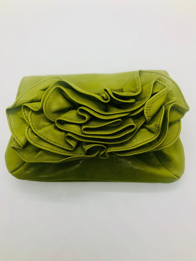 Yves Saint Laurent Chartreuse Green Leather Floral Ruffle Mini Shoulder Bag For Sale 9