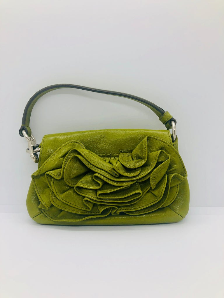Yves Saint Laurent Chartreuse Green Leather Floral Ruffle Mini Shoulder Bag For Sale 10