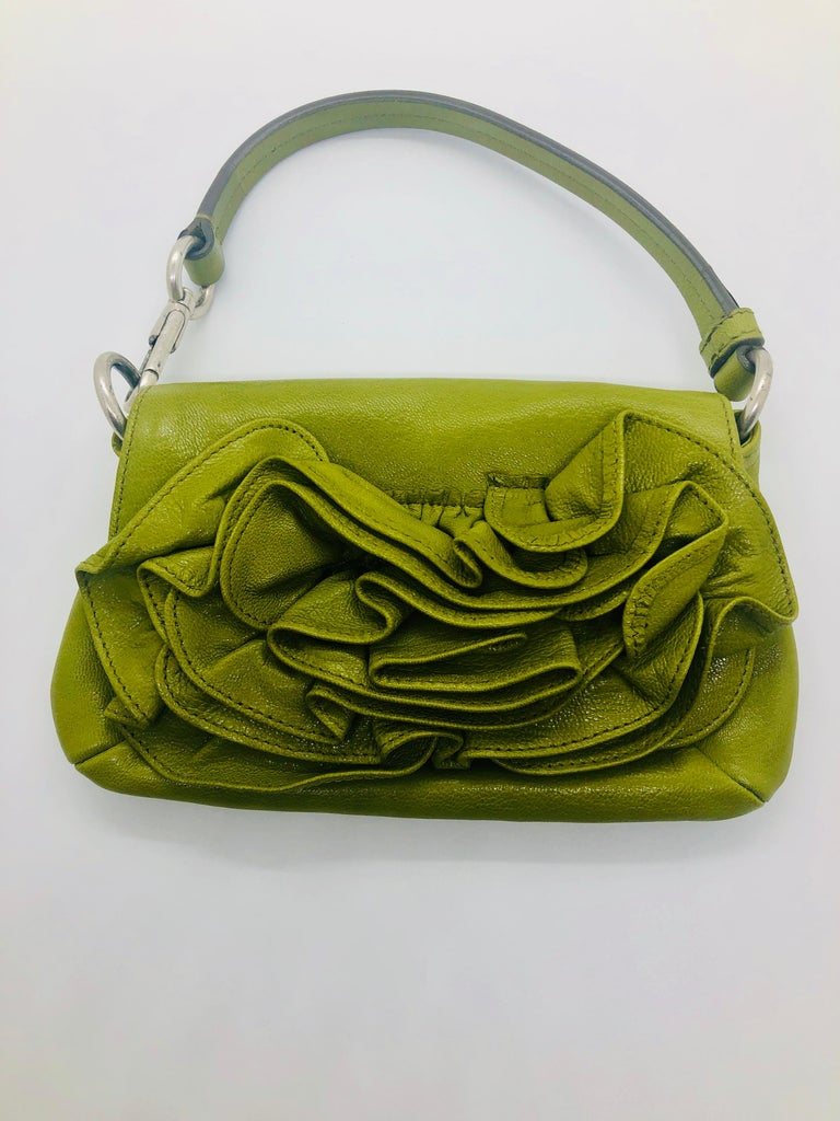 Yves Saint Laurent Chartreuse Green Leather Floral Ruffle Mini Shoulder Bag For Sale 11