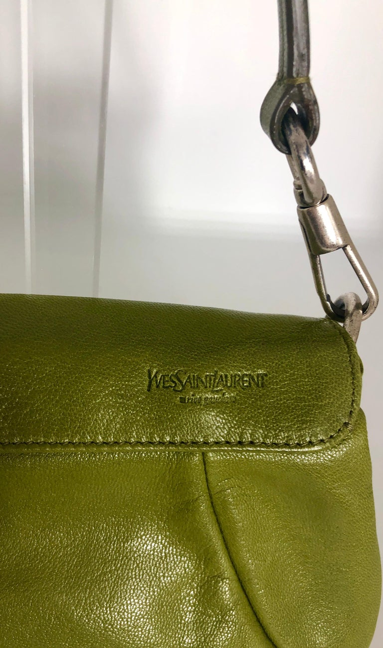 Yves Saint Laurent Chartreuse Green Leather Floral Ruffle Mini Shoulder Bag In Good Condition For Sale In Houston, TX