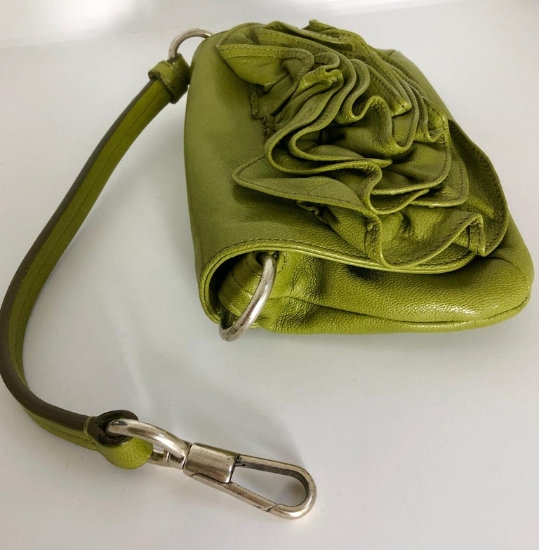 Yves Saint Laurent Chartreuse Green Leather Floral Ruffle Mini Shoulder Bag For Sale 2