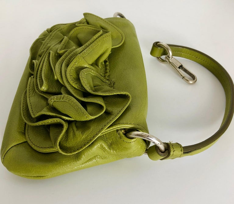 Yves Saint Laurent Chartreuse Green Leather Floral Ruffle Mini Shoulder Bag For Sale 4