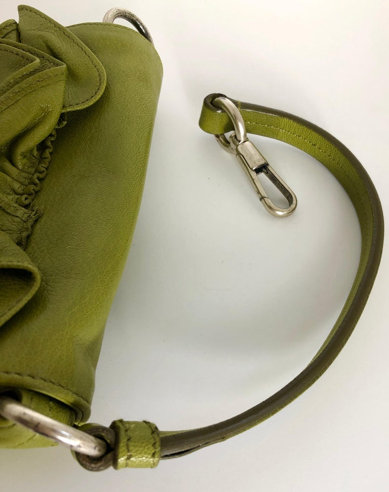 Yves Saint Laurent Chartreuse Green Leather Floral Ruffle Mini Shoulder Bag For Sale 5