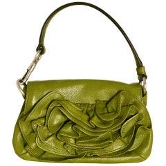 Yves Saint Laurent Chartreuse Green Leather Floral Ruffle Mini Shoulder Bag