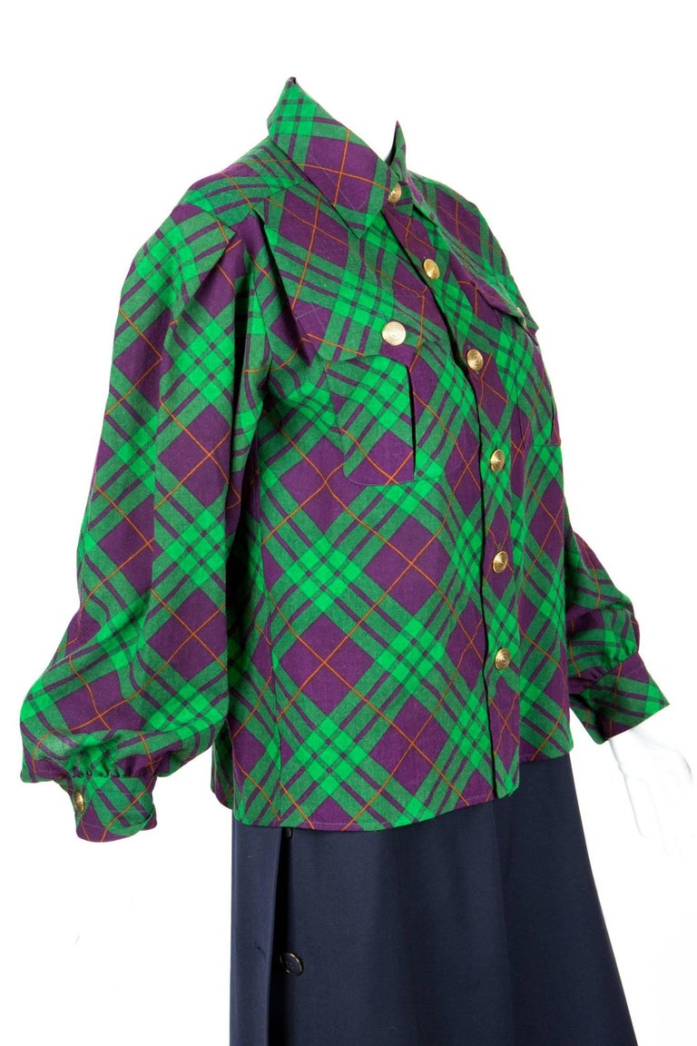 Yves Saint Laurent Check Wool Shirt Jacket In Excellent Condition For Sale In Paris, FR