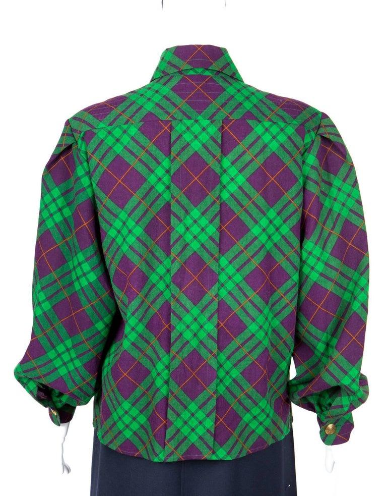 Women's Yves Saint Laurent Check Wool Shirt Jacket For Sale
