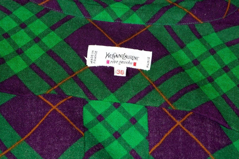 Yves Saint Laurent Check Wool Shirt Jacket For Sale 1