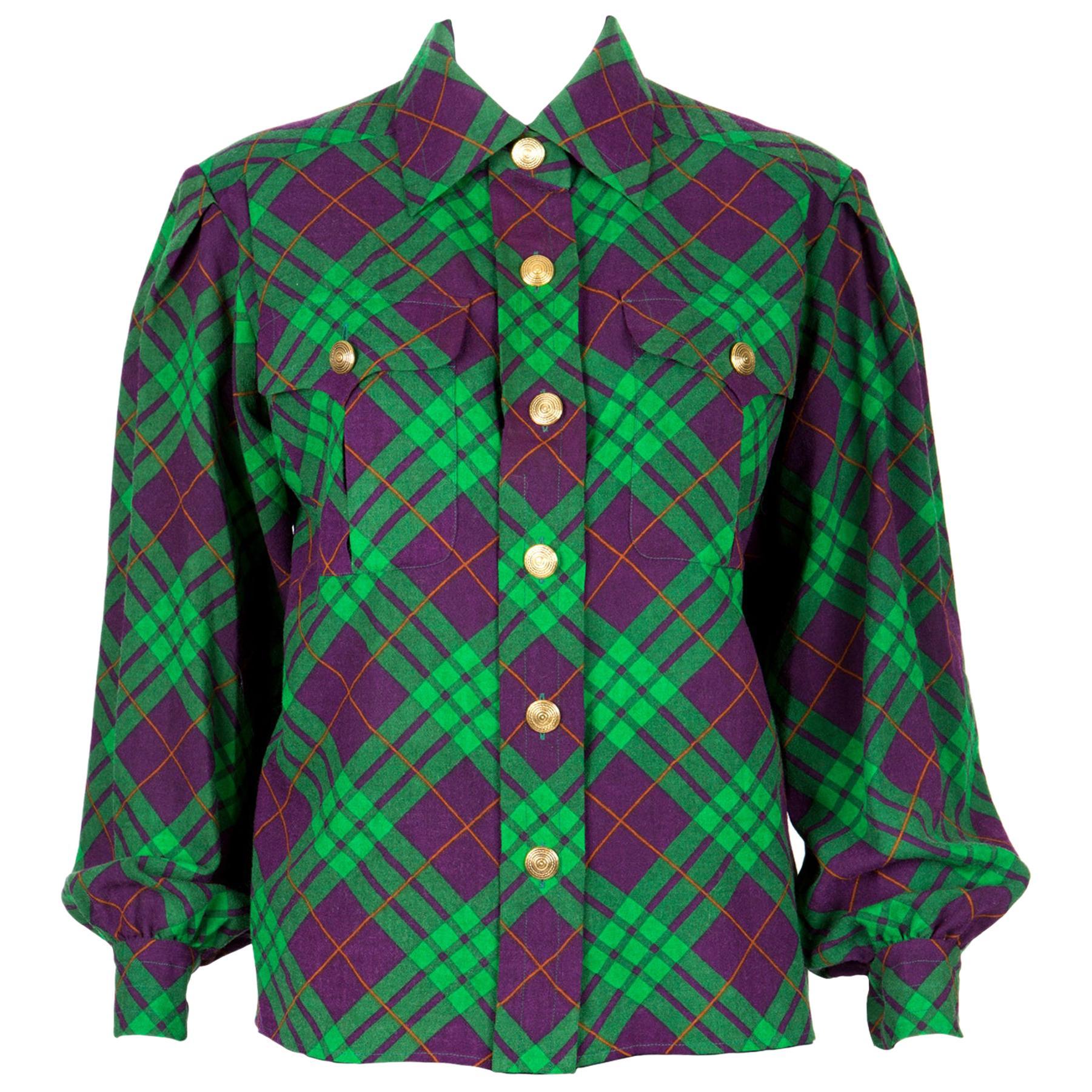 Yves Saint Laurent Check Wool Shirt Jacket