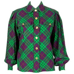 Yves Saint Laurent Check Wool Shirt Jacket