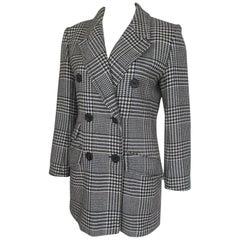 Yves Saint Laurent Checked Black White Wool Coat