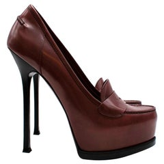 Yves Saint Laurent Cherry Leather Platform Pumps - Size 39.5