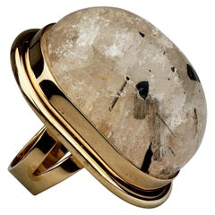 "YVES SAINT LAURENT ""Cherry"" Rutilated Dome Quartz Statement Cocktail Ring"