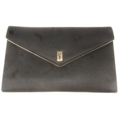 Yves Saint Laurent Chic Black Satin Clutch Bag c 1980s