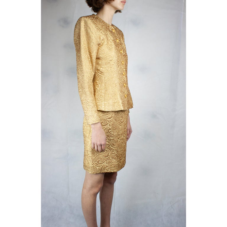 Gold Yves Saint Laurent Chinese collection gold brocade skirt ensemble.circa 1980 For Sale
