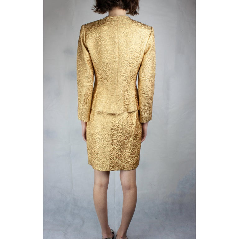 Yves Saint Laurent Chinese collection gold brocade skirt ensemble.circa 1980 In Excellent Condition For Sale In London, GB