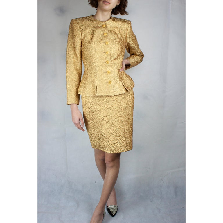 Women's Yves Saint Laurent Chinese collection gold brocade skirt ensemble.circa 1980 For Sale