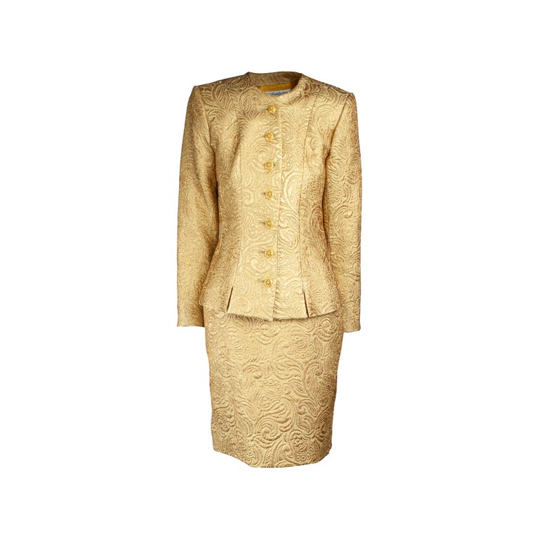 Yves Saint Laurent Chinese collection gold brocade skirt ensemble.circa 1980 For Sale
