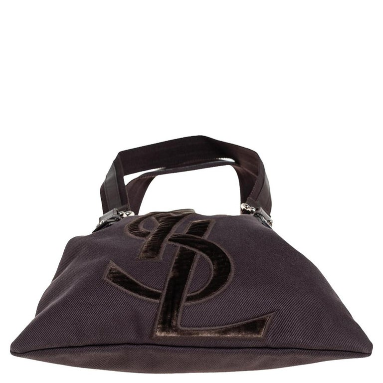 Women's Yves Saint Laurent Chocolate Brown Canvas and Velvet Kahala Drawstring Tote For Sale
