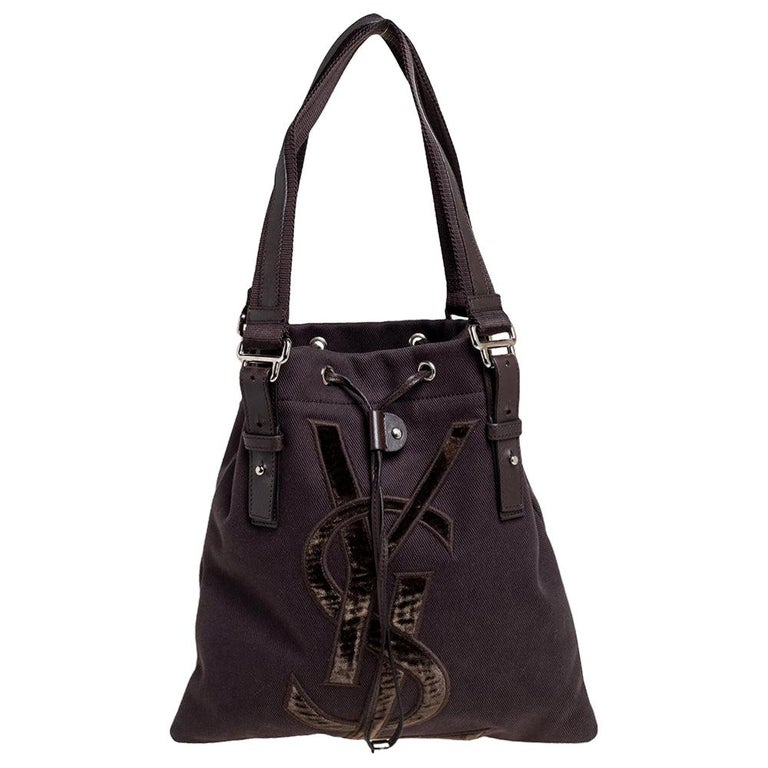 Yves Saint Laurent Chocolate Brown Canvas and Velvet Kahala Drawstring Tote For Sale