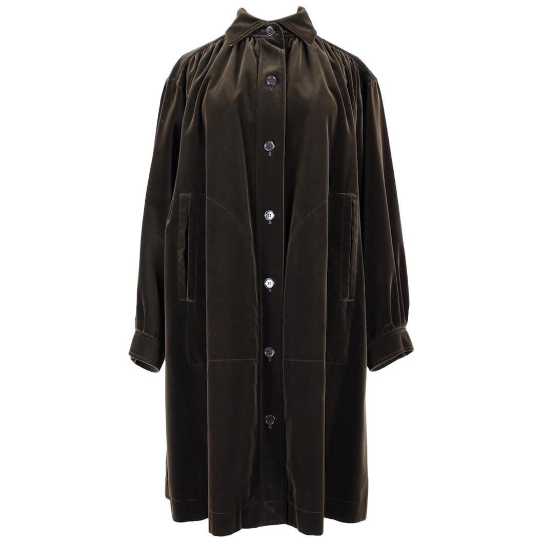 Yves Saint Laurent YSL Chocolate Brown Velvet Smock Style Coat, early 1980s
