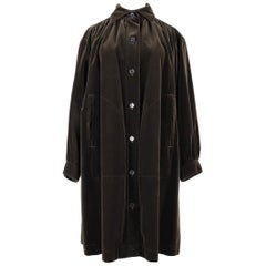 Yves Saint Laurent YSL Chocolate Brown Velvet Smock Style Coat, early 1980s