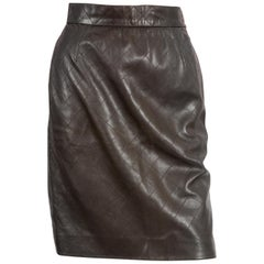 Yves Saint Laurent Chocolate Lamb Leather Quilted Pencil Skirt