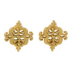 Yves Saint Laurent Clip Earrings Baroque Gilt Metal