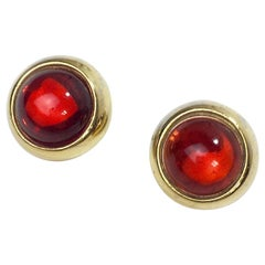 Yves Saint Laurent Clip Earrings In Gilt Metal With Red Fancy Stone
