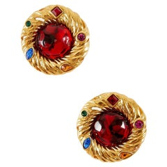 YVES SAINT LAURENT Clip-on Earrings in Gilt Metal and Molten Glass