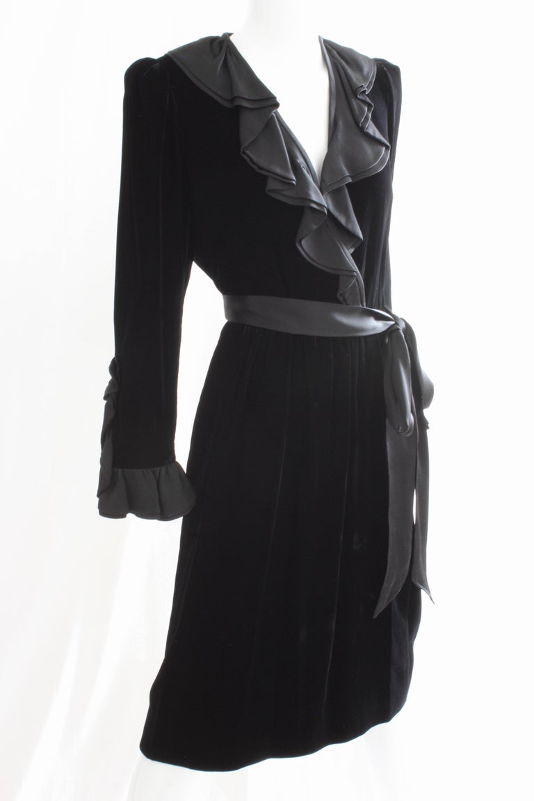 Yves Saint Laurent Cocktail Dress with Ruffles YSL Black Silk Velvet 1970s In Good Condition For Sale In Port Saint Lucie, FL