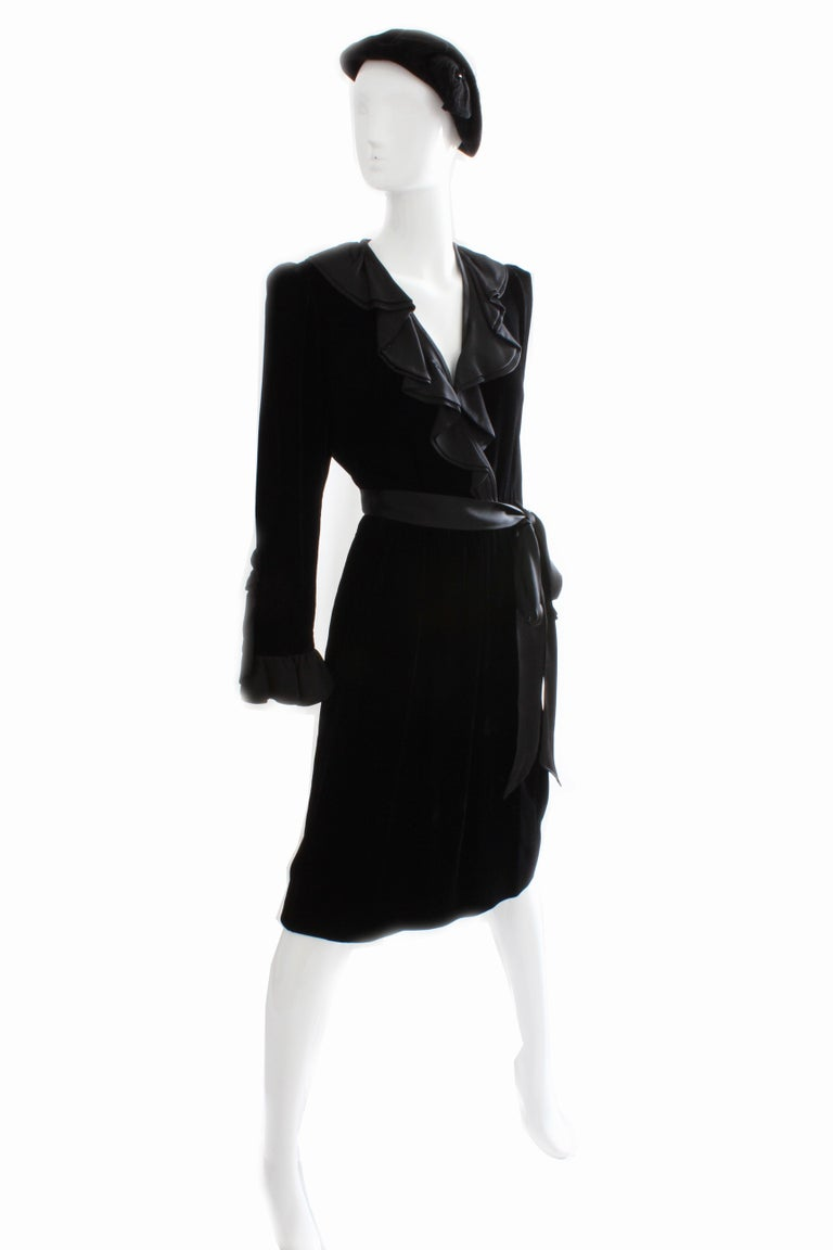 Women's Yves Saint Laurent Cocktail Dress with Ruffles YSL Black Silk Velvet 1970s For Sale