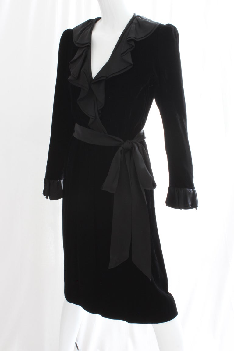Yves Saint Laurent Cocktail Dress with Ruffles YSL Black Silk Velvet 1970s For Sale 1