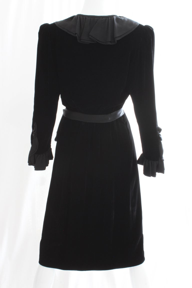 Yves Saint Laurent Cocktail Dress with Ruffles YSL Black Silk Velvet 1970s For Sale 2