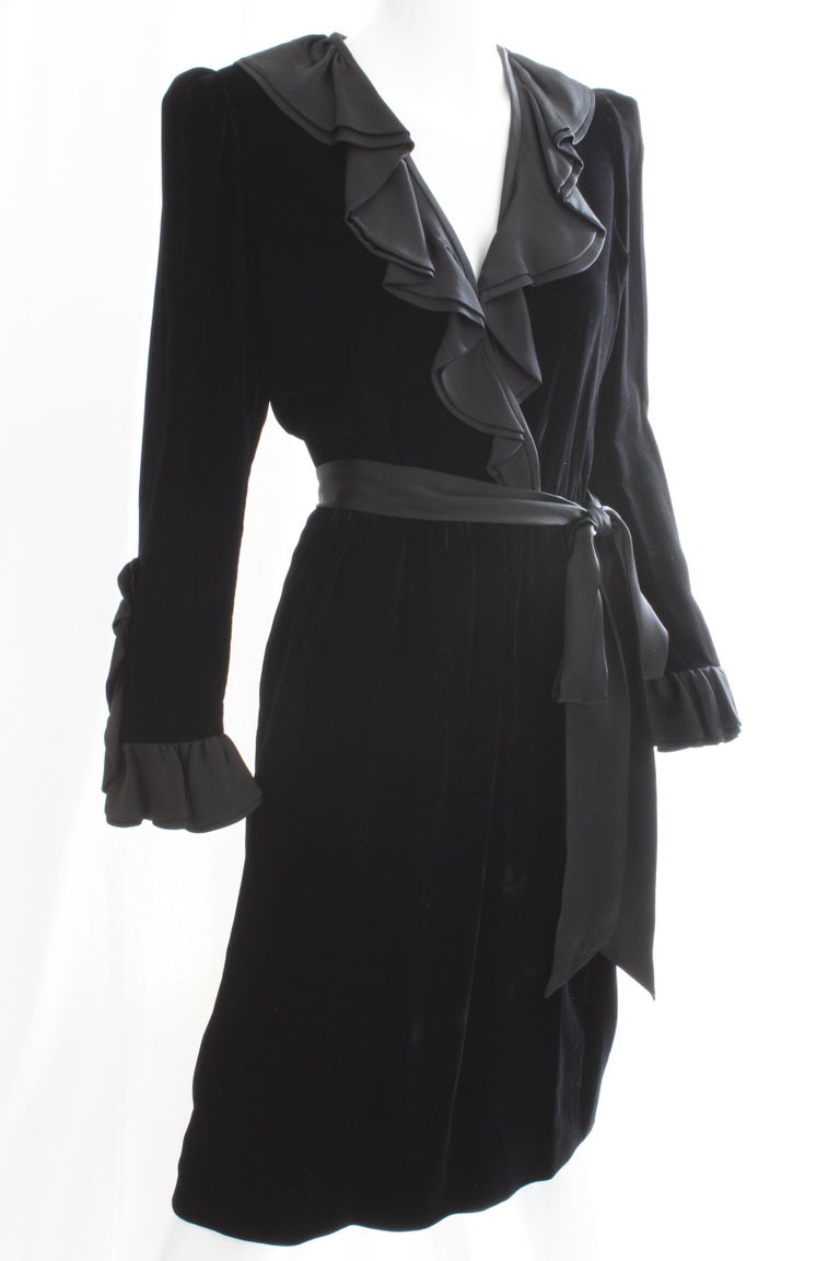 Yves Saint Laurent Cocktail Dress with Ruffles YSL Black Silk Velvet 1970s For Sale 5