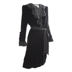 Yves Saint Laurent Cocktail Dress with Ruffles YSL Black Silk Velvet 1970s