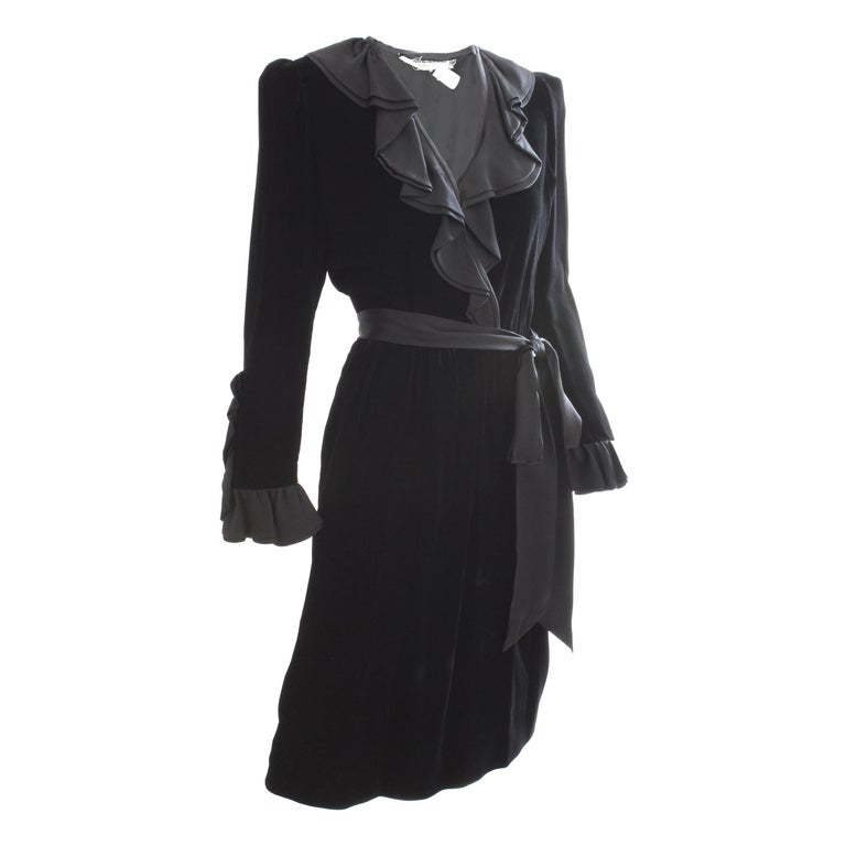 Yves Saint Laurent Cocktail Dress with Ruffles YSL Black Silk Velvet 1970s For Sale