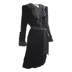 Yves Saint Laurent Cocktail Dress with Ruffles YSL Black Silk Velvet 1970s