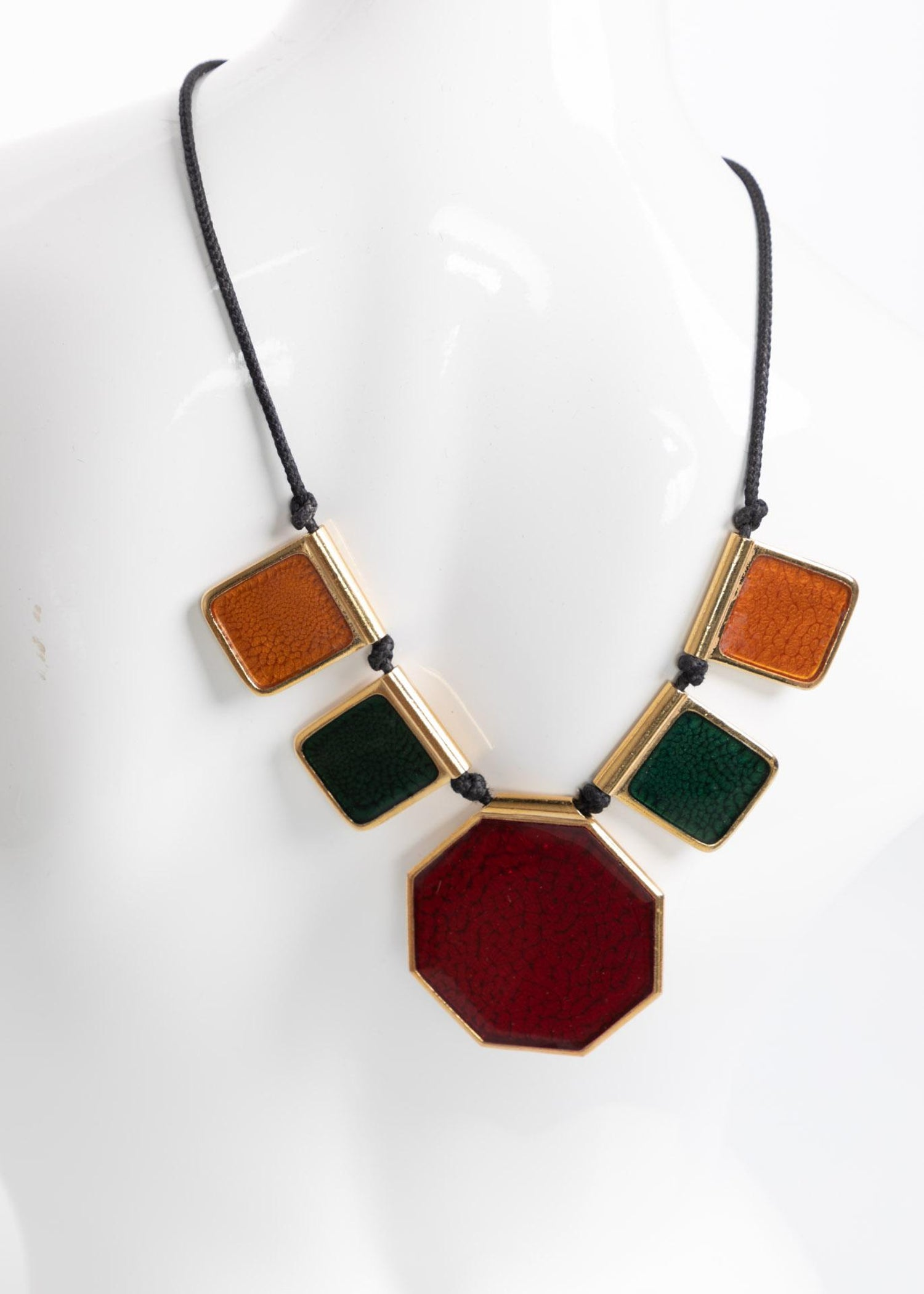 a7f67eb4e9ca9c Yves Saint Laurent Colorful Enamel Gold Limited Edition Necklace YSL, 1970s  For Sale at 1stdibs