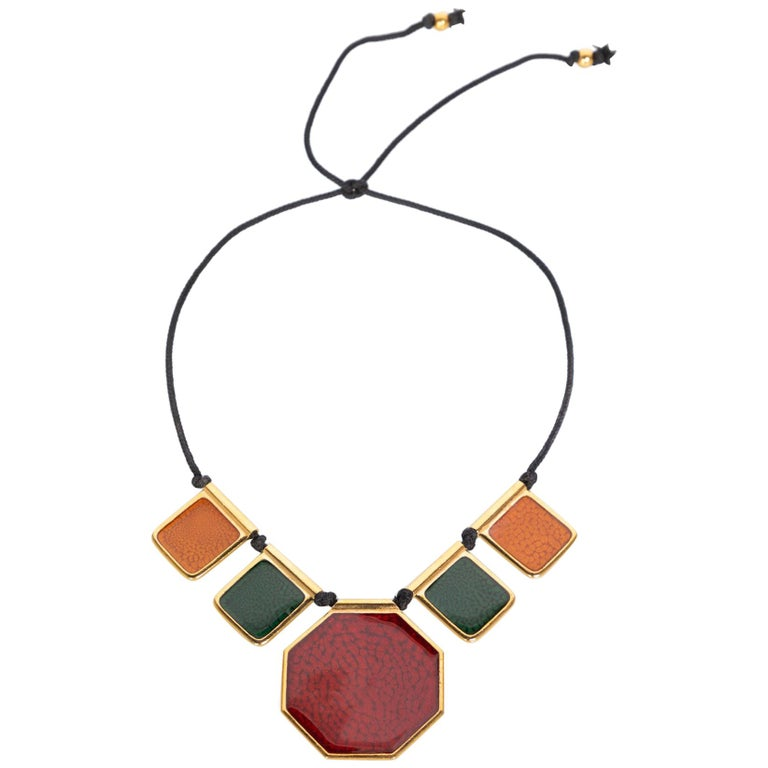 5437e097fe90a5 Yves Saint Laurent Colorful Enamel Gold Limited Edition Necklace YSL, 1970s  For Sale