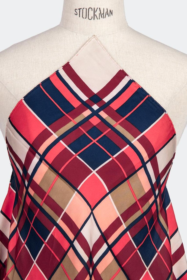 YVES SAINT LAURENT Coral Red Blue Ivory Plaid Design Silk Twill Scarf, 1980s In Good Condition For Sale In Munich, DE